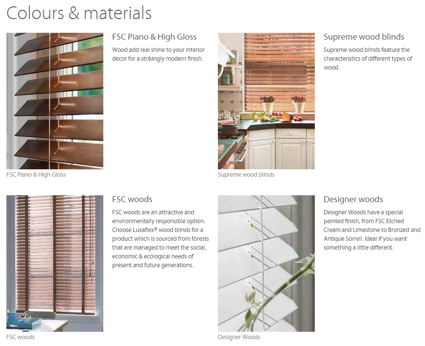 Wooden Blind Colours & Materials Ashtead Surrey
